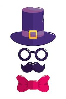 Cappello occhiali baffi e simboli cravatta a farfalla