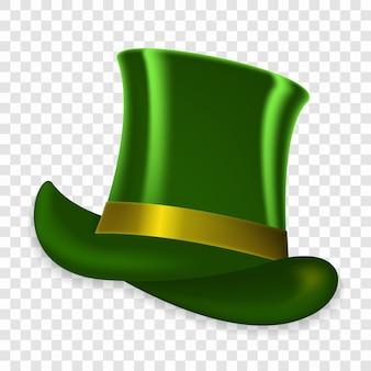 Cappello verde variopinto in vacanza di primavera di san patrizio su sfondo trasparente.