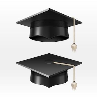 Cappucci universitari di graduazione dell'università con l'illustrazione della nappa. cappello da laurea per cerimonia