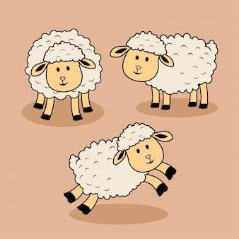 Capra sveglia dell'agnello del fumetto delle pecore