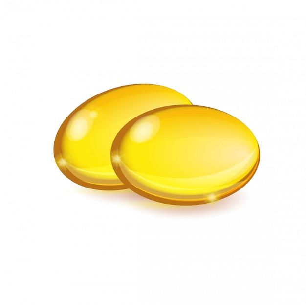 Capsule della medicina o di bellezza isolate su bianco. vitamina a o e.