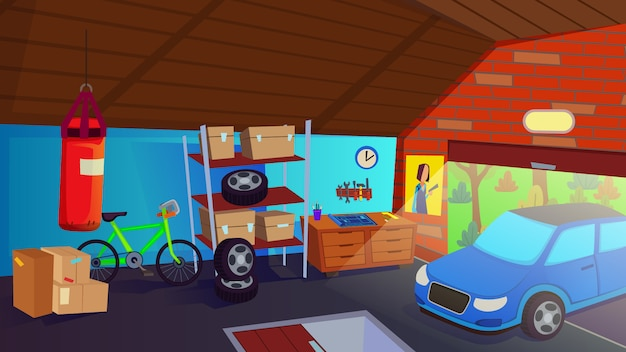 Car drive in garage interior storage room per l'illustrazione automatica