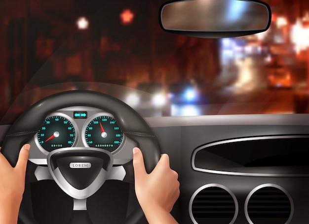 Car driving realistic design concept