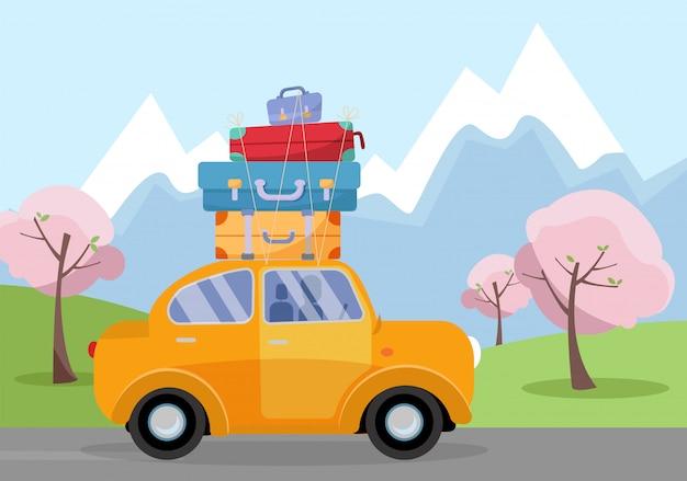 Car on road trip. concetto di veicolo di viaggio turismo e vacanze insieme. illustrazione delle vacanze di primavera vacanze, alberi in fiore, viaggi intorno al mondo con le valigie sul tetto dell'auto. tema turistico retrò di viaggio