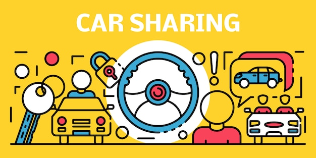 Car sharing banner, outline style