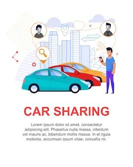 Car sharing illustrazione piatta. affitto di trasporto