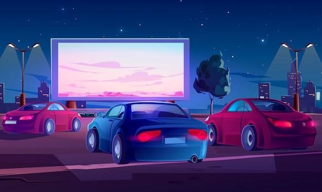 Car street cinema. teatro drive-in con auto