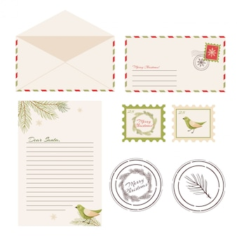 Cara lettera di babbo natale. cartolina con francobolli e marchio.