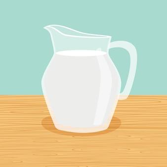 Caraffa di latte di fattoria sul tavolo