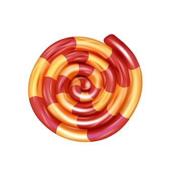Caramelle arrotolate a strisce. dolci per bambini. caramelle naturali isolate