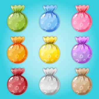 Caramelle confezionate in 9 colori.