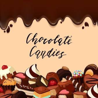 , caramelle di cartone animato e strisce di cioccolato