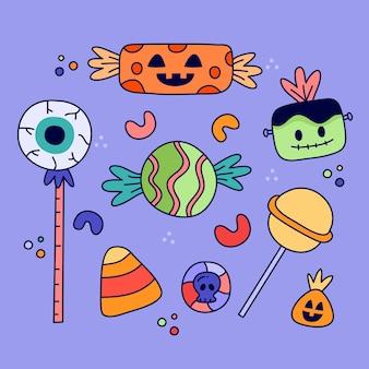 Caramelle di halloween disegnate a mano