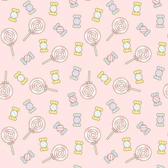 Caramelle kawaii trasparenti seamless pattern