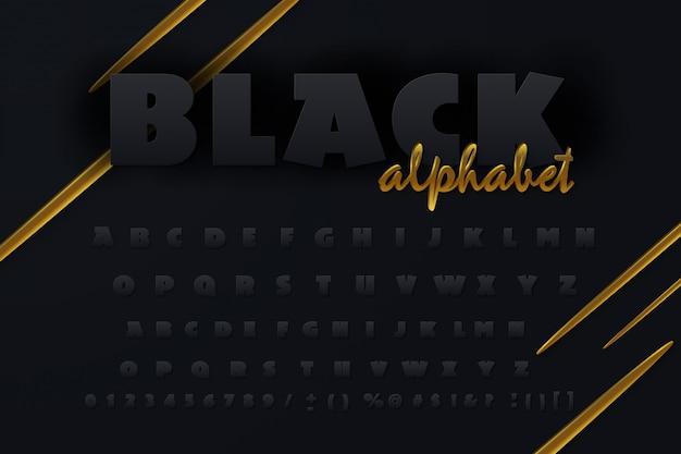 Carattere 3d nero e dorato.