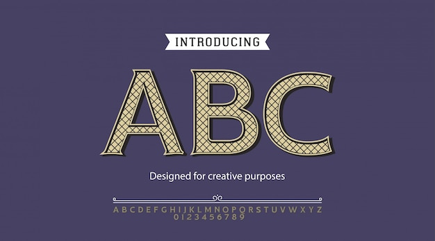 Carattere abc. per etichette e disegni di tipi diversi