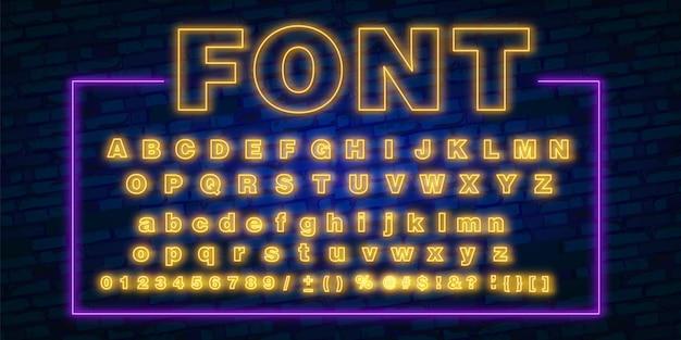 Carattere al neon, set di luci a bagliore di lettere di testo anni '80