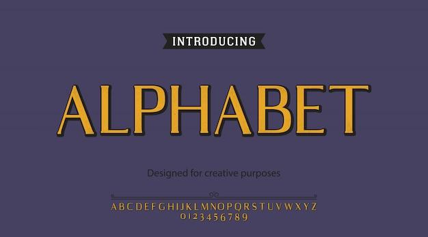 Carattere alfabetico. per etichette e diversi tipi di disegni
