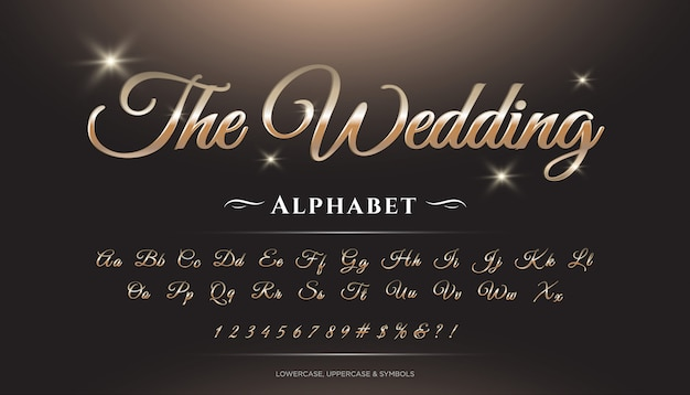 Carattere alfabeto di lusso 3d script di nozze