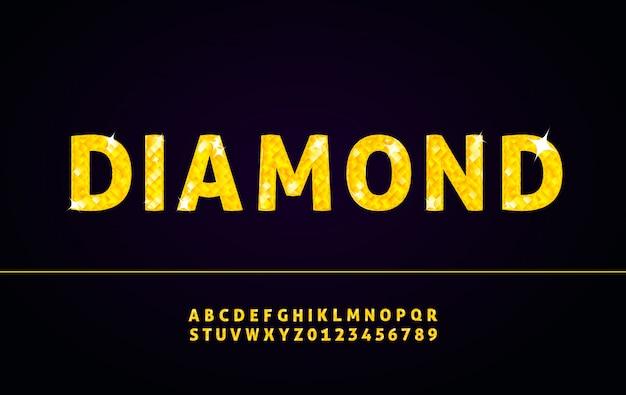 Carattere alfabeto diamante con lettere e numeri