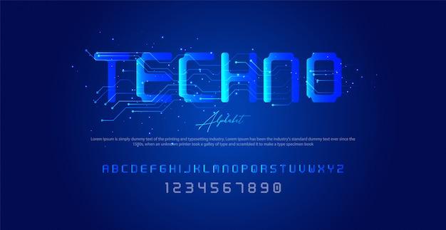 Carattere, alfabeto e numeri in stile techno,