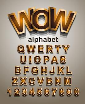 Carattere alfabeto effetto dorato con lettere e numeri
