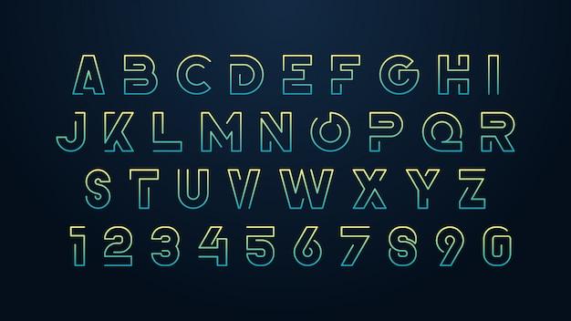 Carattere alfabeto futuristico minimalista