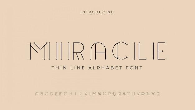 Carattere alfabeto miracolo linea sottile