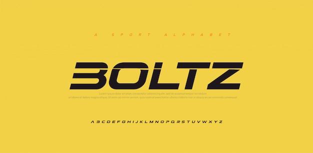 Carattere alfabeto moderno corsivo sport moderno futuro. caratteri tipografici in stile urbano per tecnologia, digitale, logo film in stile corsivo.