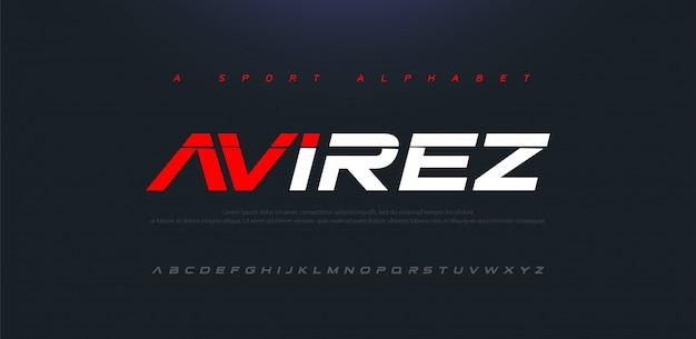 Carattere alfabeto moderno corsivo sport moderno futuro. caratteri tipografici in stile urbano