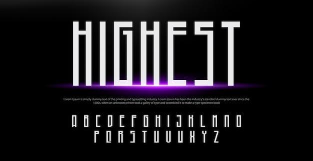Carattere alfabeto moderno creativo. caratteri tipografici in stile urbano con luci