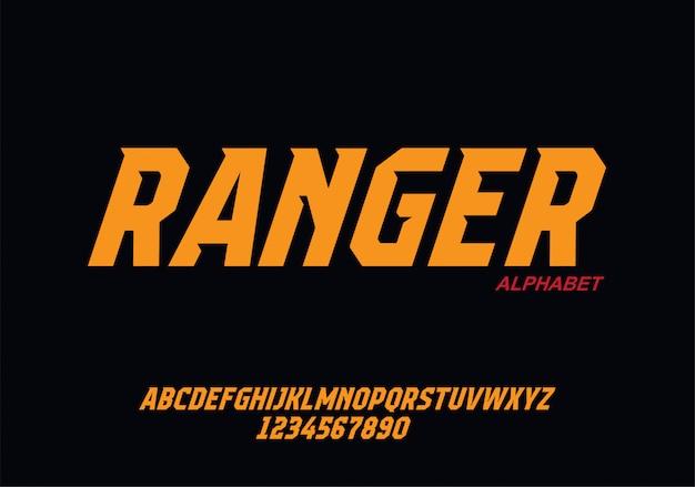 Carattere alfabeto moderno sport. caratteri tipografici in stile urbano per tecnologia, design digitale, logo del film.