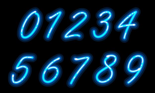 Carattere alfabeto neon nei numeri blu