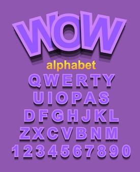 Carattere alfabeto viola con lettere e numeri