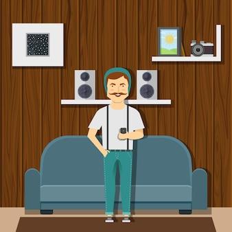 Carattere alla moda di tipo maschio hipster piatto nell'interiore domestico in legno con gadget di baffi e smartphone