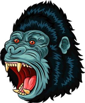 Carattere arrabbiato della testa della gorilla isolato su fondo bianco