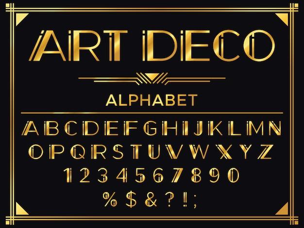 Carattere art deco. lettere decorative degli anni '20 dorati, tipografia vintage e set di alfabeto in oro antico