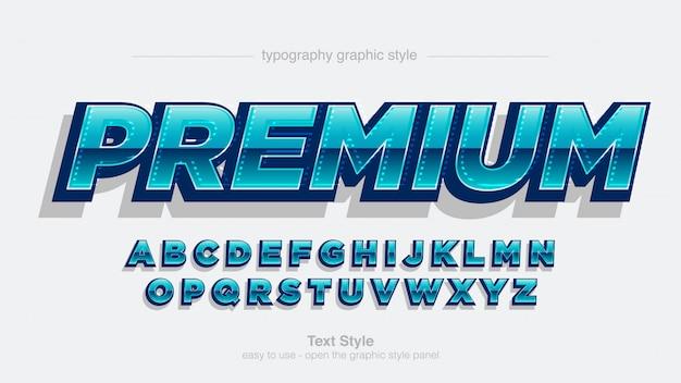 Carattere artistico blu futuristico blu lucido cromato