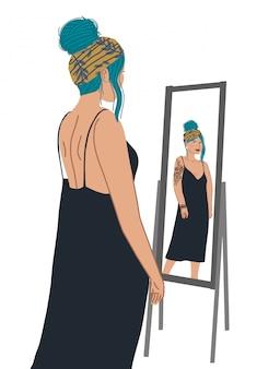Carattere attraente della ragazza che sta davanti allo specchio e che esamina una riflessione.