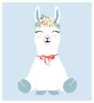 Carattere carino llama e corona di fiori ad acquerello.