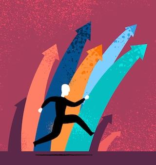 Carattere che corre accanto a frecce multicolori