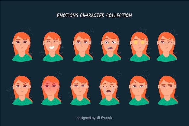 Carattere che mostra la raccolta di emozioni