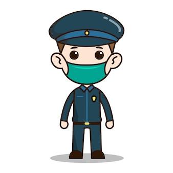 Carattere chibi poliziotto con maschera