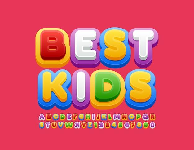 Carattere colorato per bambini. lettere e numeri dell'alfabeto creativo