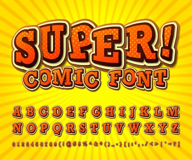 Carattere comico alfabeto arancione in stile di fumetti, pop art.