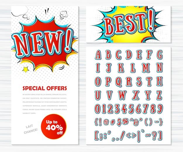 Carattere comico alfabeto di cartone animato in stile pop art.