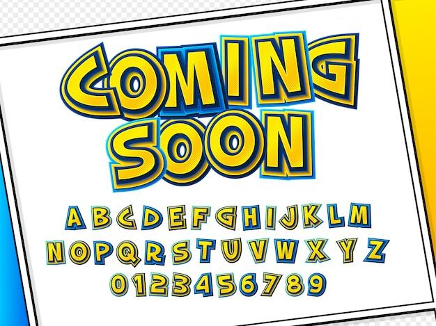 Carattere comico. alfabeto giallo-blu di cartoonish alla pagina del libro di fumetti