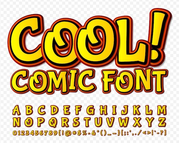 Carattere comico alfabeto giallo in stile di fumetti, pop art