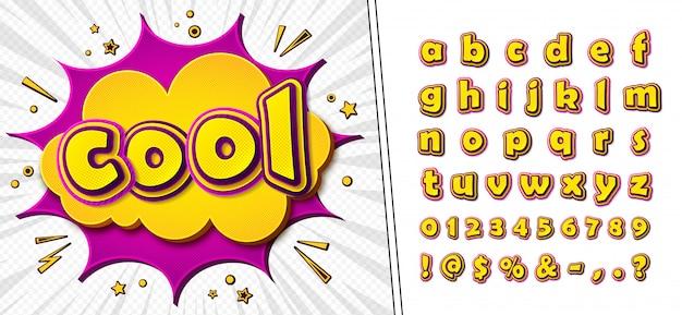 Carattere comico. alfabeto giallo-rosa di cartoonish alla pagina del libro di fumetti
