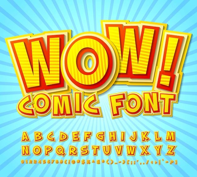Carattere comico alfabeto giallo-rosso in stile di fumetti, pop art